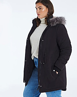 Black Faux Fur Lined Parka Coat