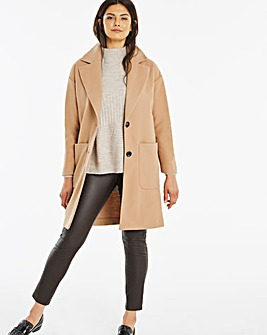 Camel Single Breasted Unlined Coat