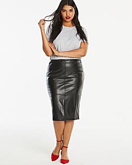 PU Smart Midi Pencil Skirt