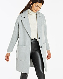 Grey Marl Single Breasted Unlined Coat