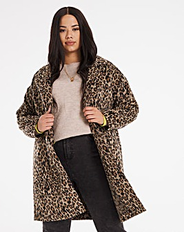 Leopard Print Single Breasted Coat