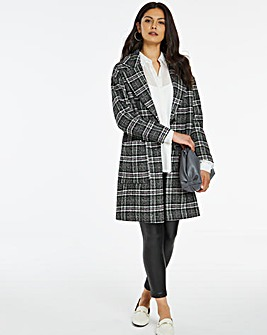 Lilac Check Single Breasted Coat