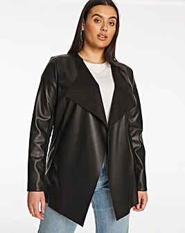 Longline PU Waterfall Jacket with Jersey Panel Sleeves