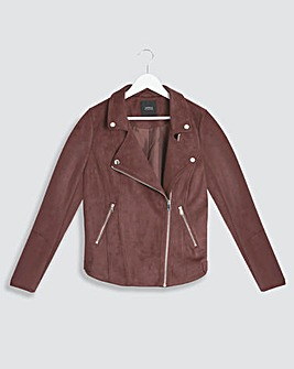 Chocolate Suedette Biker Jacket