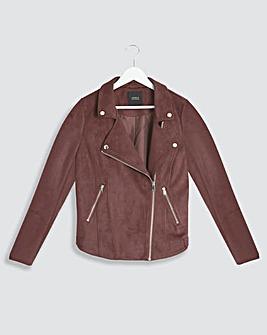 Chocolate Suedette Biker Jacket