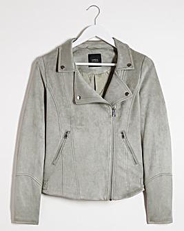 Pistachio Suedette Biker Jacket