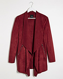 Burgundy Suedette Waterfall Jacket with Jersey Panel Sleeves