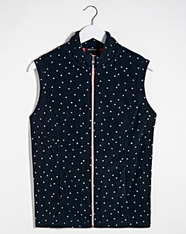 Navy Polka Dot Fleece Gilet