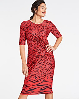 Red Animal Twist Knot Dress