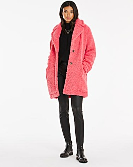 Pink Faux Fur Teddy Coat