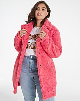 Pink Faux Fur Teddy Coat