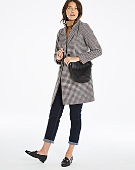 Check Double Breasted Wool Coat