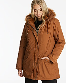 Toffee Faux Fur Trim Parka