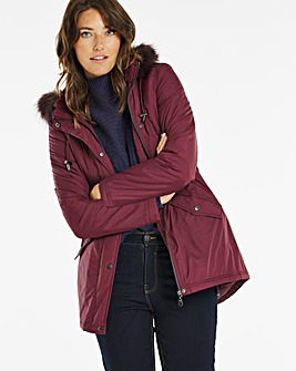 Plum Faux Fur Trim Parka