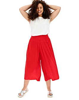 Red Crinkle Shirred Waist Culottes