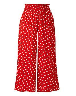 Spot Crinkle Shirred Waist Culottes