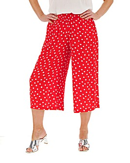 Spot Crinkle Shirred Waist Culottes