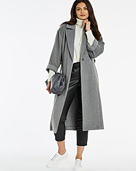 Grey Wrap Collar Coat