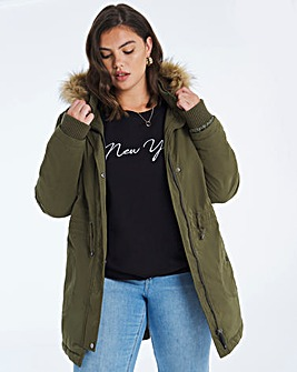 Khaki Faux Fur Lined Parka Coat
