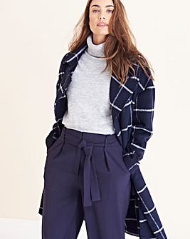 Oversized Relaxed Check Blanket Coat
