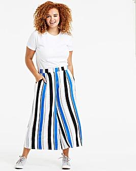 White & Cobalt Stretch Jersey Culottes