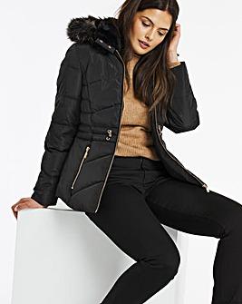 Black Luxe Hooded Short Padded Coat