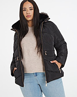 Black Luxe Hooded Short Padded Coat