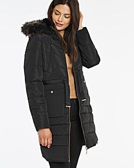 Black Luxe Longline Padded Coat