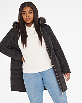 Black Luxe Longline Padded Coat