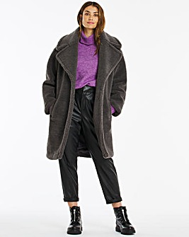 Charcoal Mid Length Teddy Faux Fur Coat