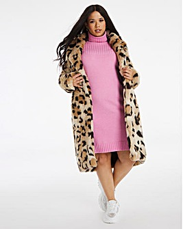 Oversized Animal Print Faux Fur Coat