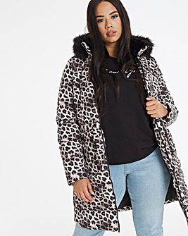 Leopard Print Luxe Longline Padded Coat