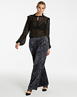 Crushed Stretch Velour Wide Leg Trousers Reg