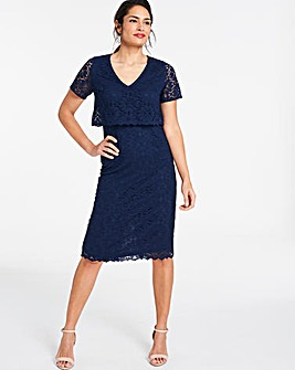 Navy Lace Layered Dress