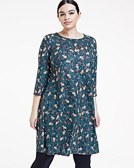 Floral Print Long Sleeved Swing Dress