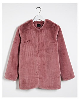 Baked Pink Faux Fur Coat
