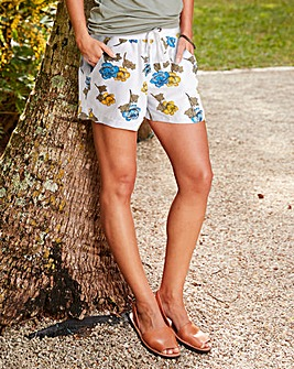 Floral Print Slouch Linen Mix Shorts