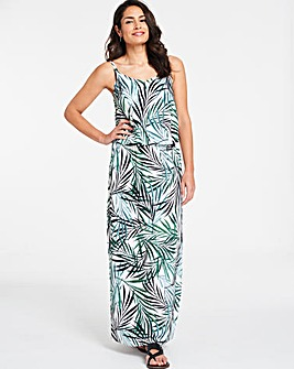 Palm Print Layered Maxi Dress