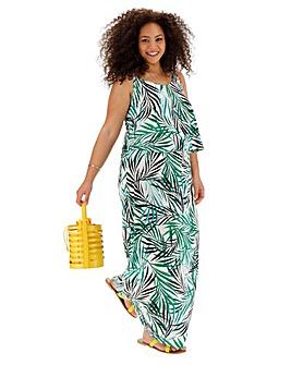 Palm Print Layered Maxi Dress