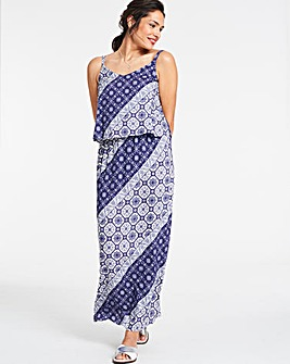 Tile Print Layered Maxi Dress
