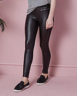 Zip Trim PU Wet Look Leggings