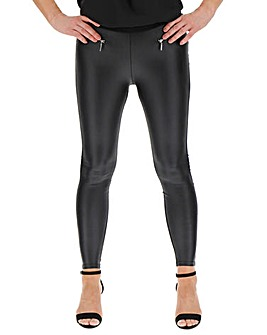 Zip Trim PU Wet Look Front Leggings Regular