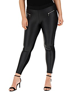 Zip Trim PU Wet Look Leggings