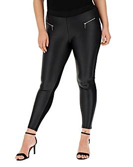 Zip Trim PU Wet Look Front Leggings Regular