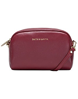 Smith & Canova Small Soft Leather Zip Top Crossbody Bag