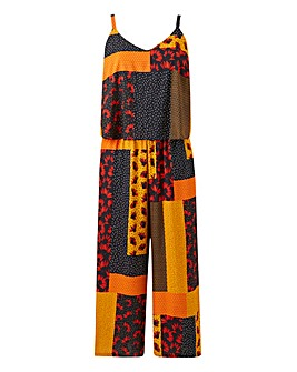 Multi Print Layered Cullotte Jumpsuit