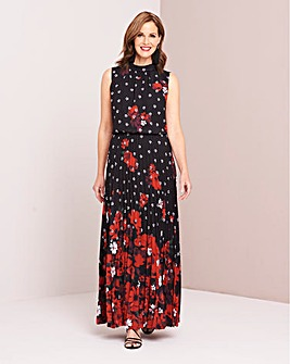 Floral High Neck Pleated Maxi Dress