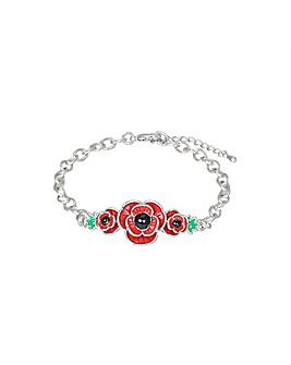 Rhodium plated enamel Poppy bracelet