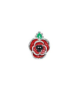 Rhodium plated enamel Poppy brooch