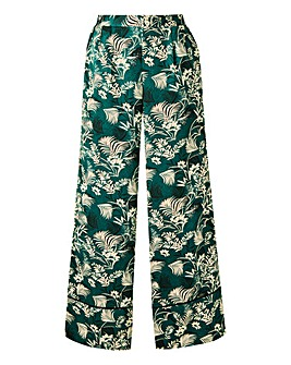 Floral Print Wide Leg Satin Trousers